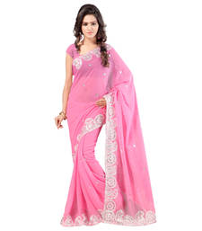Buy baby_pink embroidered chiffon saree with blouse chiffon-saree online