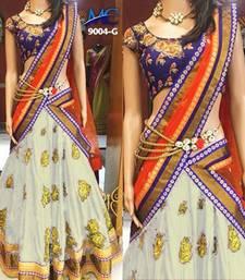 Buy White embroidered silk unstitched lehenga with dupatta lehenga-choli online