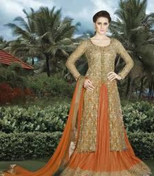Buy Beige embroidered net salwar wedding-salwar-kameez online