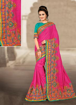 Rani pink hand woven manipuri silk saree with blouse