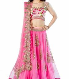 Buy Pink embroidered net unstitched lehenga with dupatta black-friday-deal-sale online