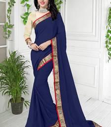 Buy Designer Georgette blue Color Lace work saree georgette-saree online