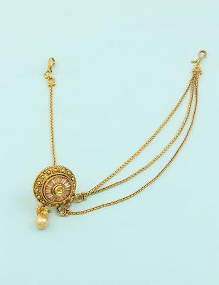 Golden Beige Polki Stones Bor Tika Jewellery for Women