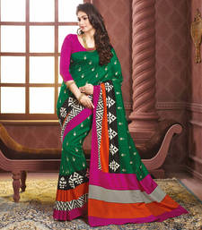 Buy Green printed art silk saree with blouse printed-saree online