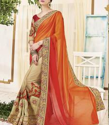 Buy Orange ShadedArt Silk Embroidery Designer Saree wedding-saree online