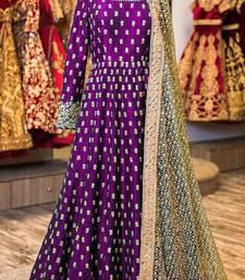 Buy Purple embroidered art silk salwar with dupatta multicolor-salwar-kameez online