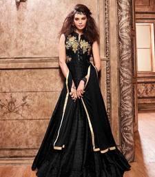 Buy Black embroidered taffeta salwar with dupatta multicolor-salwar-kameez online