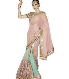 Buy Light Pink embroidered Georgette saree with blouse Woman online