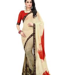 Buy multicolor printed faux georgette saree with blouse Woman online