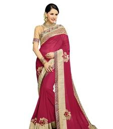 Buy Red embroidered faux georgette saree with blouse Woman online
