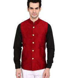 Buy indian ATTIRE Designer Ethnic Maroon Solid Blended Silk Koti (Waistcoat) For Men wedding-season-sale online