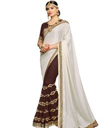 Buy Off White embroidered faux georgette saree with blouse Woman online