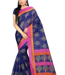 Buy Blue printed bhagalpuri silk saree with blouse bhagalpuri-silk-saree online