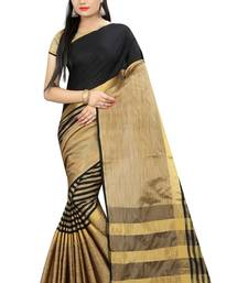 Buy Gold printed cotton silk saree with blouse cotton-silk-saree online