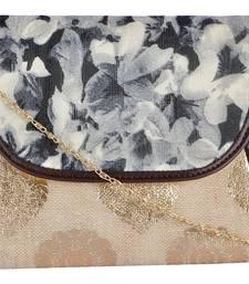 Buy Jute Silk Women Brown Party Clutch handbag online