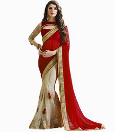 Buy Maroon embroidered net saree with blouse net-saree online