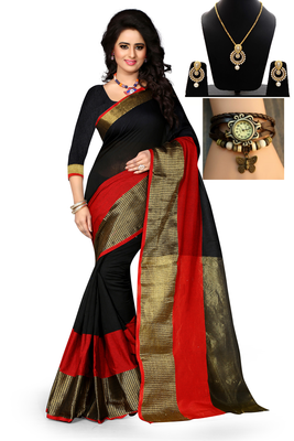 Black hand woven art silk saree with blouse & free gift