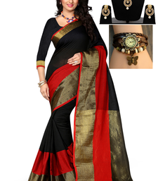 Buy Black hand woven art silk saree with blouse & free gift bengali-saree online