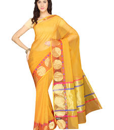 Buy Yellow plain cotton saree  Saree online