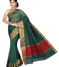 Buy Green plain cotton silk saree  Saree online