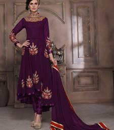 Buy Purple embroidered georgette salwar with dupatta semi-stitched-salwar-suit online