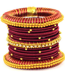 Buy Traditional Maroon Silk thread bangle (13 PCS) bangles-and-bracelet online