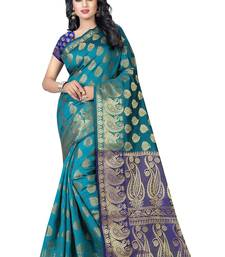 Buy Multicolor printed banarasi silk saree with blouse black-friday-deal-sale online