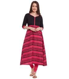 Buy black printed cotton stitched kurti kurtas-and-kurti online