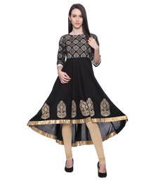 Buy Black Printed rayon stitched kurti kurtas-and-kurtis online