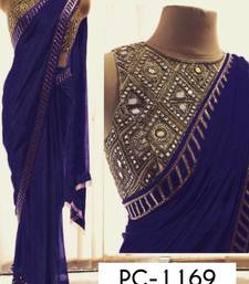Buy Blue embroidery georgette saree with blouse georgette-saree online