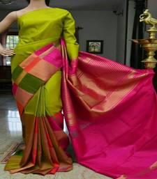Buy Parrot green printed silk saree with blouse silk-saree online