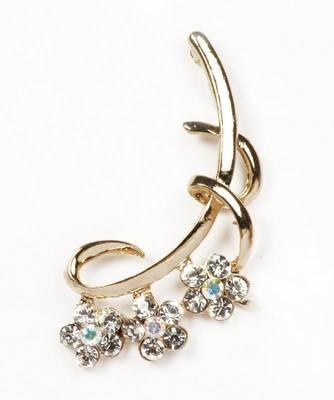 9blings CZ gold plated spring shape fancy ear cuff ec16
