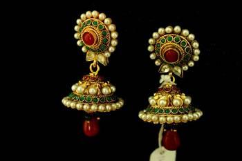 Red Drop Pearls Jhumka