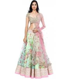 Buy Multicolor printed net unstitched lehenga with dupatta lehenga-below-1000 online