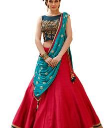 Buy red silk embroidered semi stitched lehenga  choli with dupatta (Premium quality) lehenga-choli online