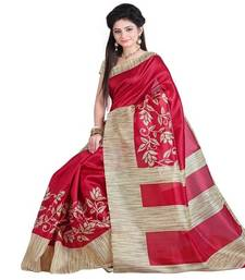 Buy Cream printed art silk saree with blouse art-silk-saree online