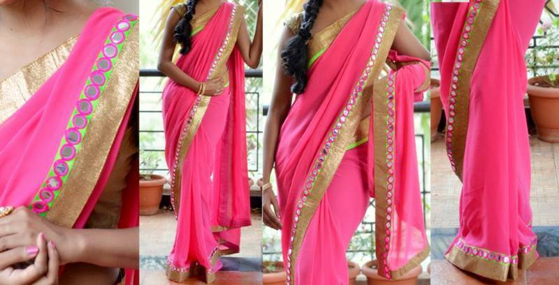 Buy pink mirror work saree online for Mirror work saree