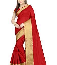 Buy Red plain dupion silk saree with blouse dupion-saree online