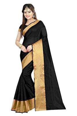 Black plain dupion silk saree with blouse