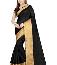 Buy Black plain dupion silk saree with blouse dupion-saree online