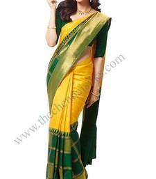 Buy Green printed silk saree with blouse bridal-saree online