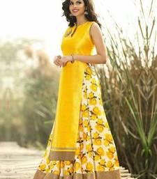 Buy Yellow printed cotton silk unstitched lehenga lehenga-below-1000 online