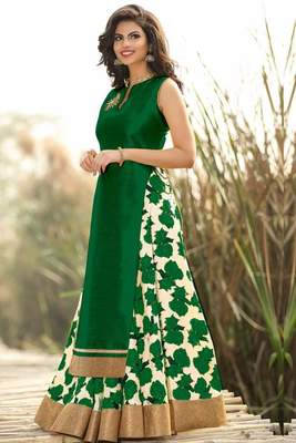 Green printed cotton silk unstitched lehenga
