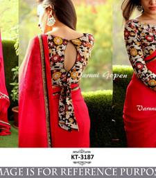 Buy Red embroidered georgette saree with blouse fancy-saree online