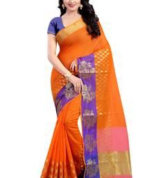 Buy Orange woven poly cotton saree with blouse kanchipuram-silk-saree online