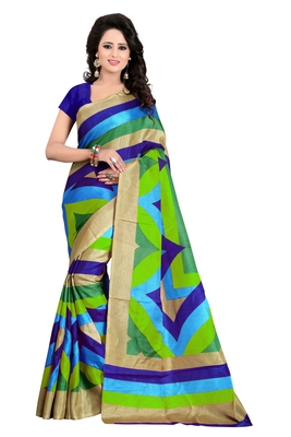 Lignt blue and dark blue and grey printed art silk saree with blouse