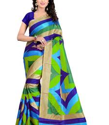 Buy Lignt blue and dark blue and grey printed art silk saree with blouse fancy-saree online