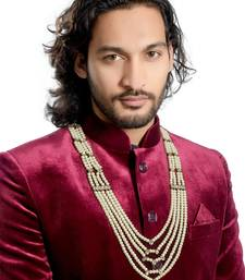Buy Wedding wear 5 line dulha mala with pearl and stone for men Other online