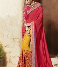 Buy Maroon embroidered silk saree with blouse wedding-saree online