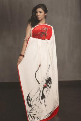 Sayta Paul chinese print saree